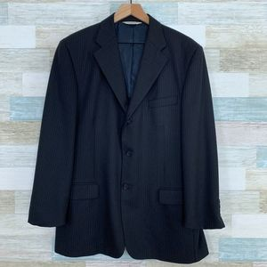 Pronto Uomo Worsted Wool Striped Suit Jacket Black